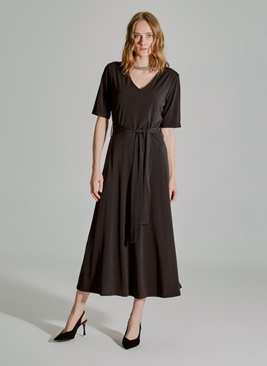 People By Fabrika Bağlama Detaylı V Yakalı Elbise Siyah